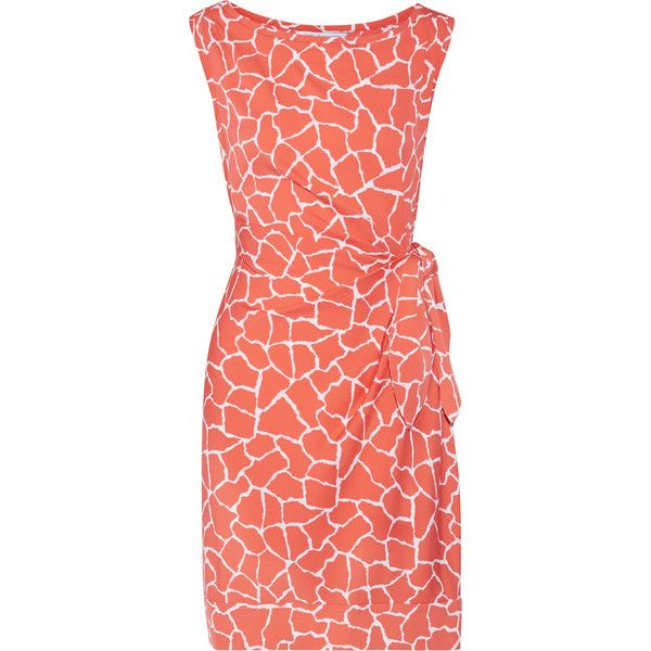 Diane von Furstenberg - New Della Tie-front Printed Jersey Mini Dress (3,150 MXN) ❤ liked on Polyvore featuring dresses, coral, jersey dress, polka dot mini dress, tie front dress, diane von furstenberg dress and polka dot dresses