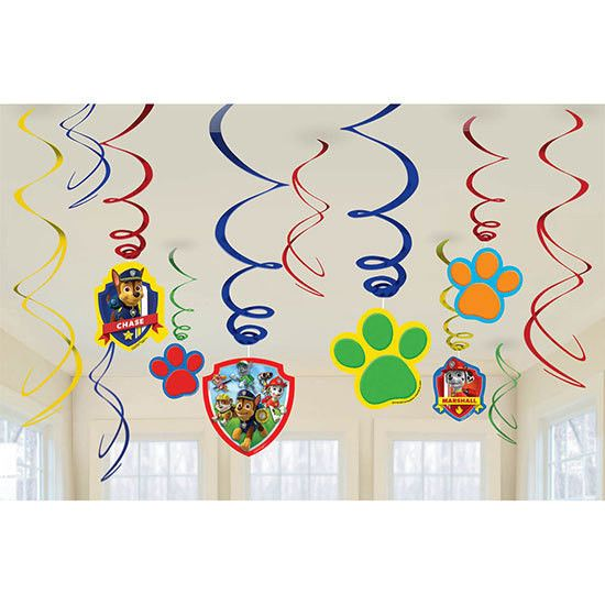 Paw Patrol Hanging SWIRL DECORATIONS Birthday Party Supplies Décor Backdrop