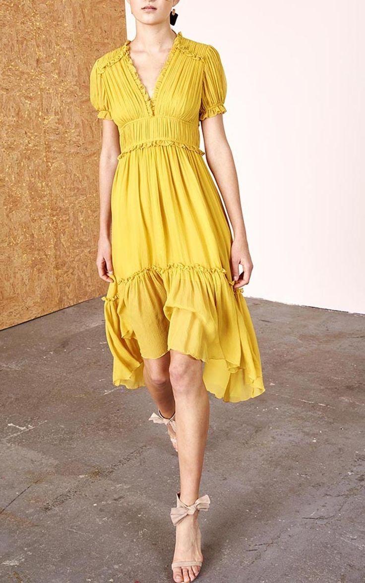Yellow Chiffon Tiered Dress by Ulla Johnson | Moda Operandi
