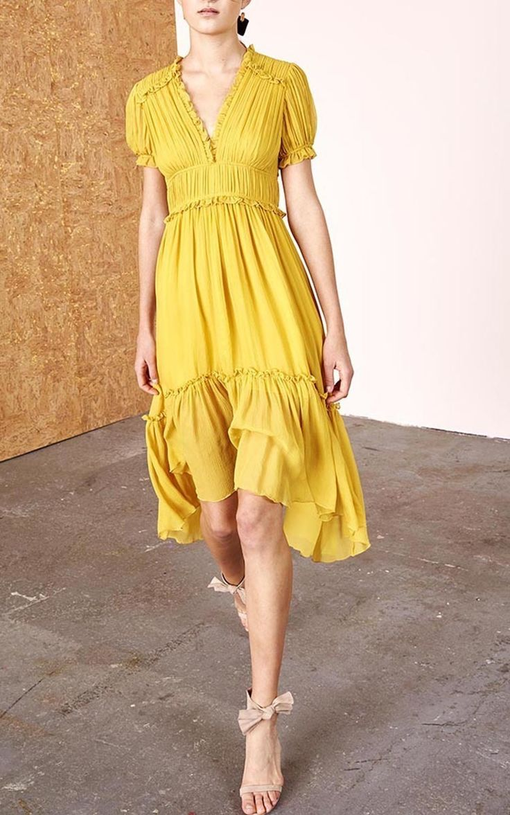 Yellow Chiffon Tiered Dress by Ulla Johnson | Moda Operandi