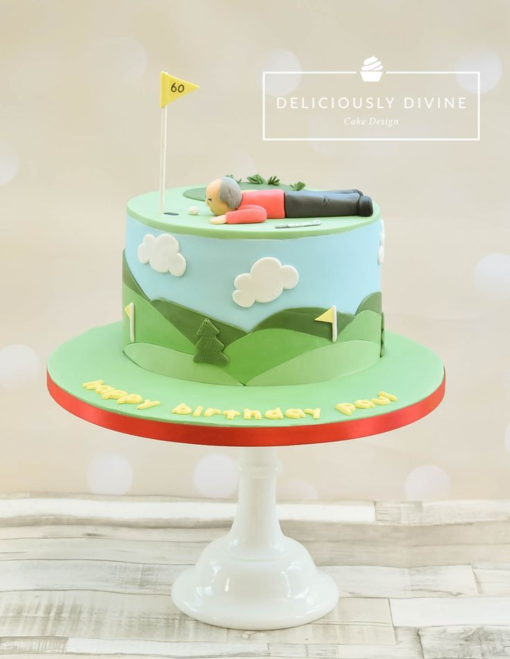 Golf birthday cake. With chocolate cake inside. By Deliciously Divine Cake Design, Nuneaton, Warwickshire. Www.delisciouslydivine.co.uk