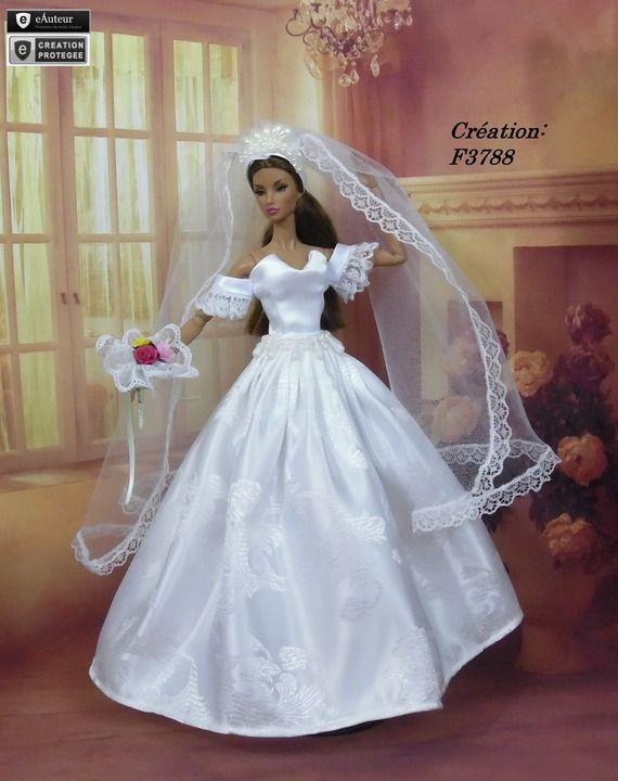 2105 best wedding dresses for dolls images on pinterest - Barbie mariee ...