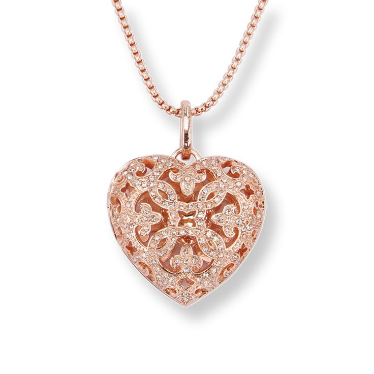 Thomas Rhinestone Paved Openable Heart Pendant Necklace, European TS-Style Fine Jewelry for Women