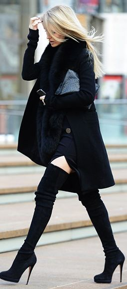 street chic. Wish I had long enough legs not to mention slender enough to wear thigh high boots