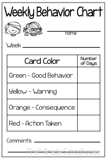Weekly behavior charts. Free download.                                                                                                                                                                                 More