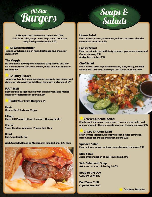 Restaurant menu graphic design services for sports bar and for Food bar menu