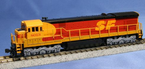 "Model Trains Kato Santa Fe Southern Pacific """"Kodachrome"""" Diesel Locomotive GE C30-7 176-0941 Cab No 8013 N Scale"
