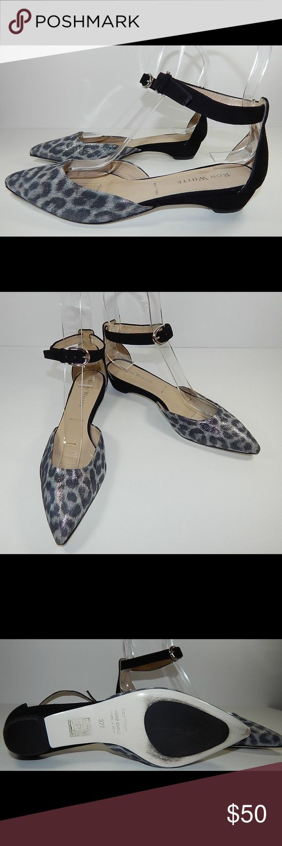 Ron White leather wedge leopard flats shoes 7/7.5 Ron White Mary Jane style flat sandals. Size 37.5 or 7-7.5 in US. Worn once, light use, see pictures. Ron White Shoes Flats & Loafers