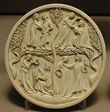 Scenes of courtly love on a lady's ivory mirror-case. Paris, 1300-1330.