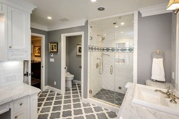 Hurlingham - traditional - Bathroom - San Francisco - Dennis Mayer, Photographer | loooove this moroccan trellis style design on the bathroom floor tiles! gorgeous modern meets traditional grey and white bathroom with double vanity, dual faucet sink and single shower