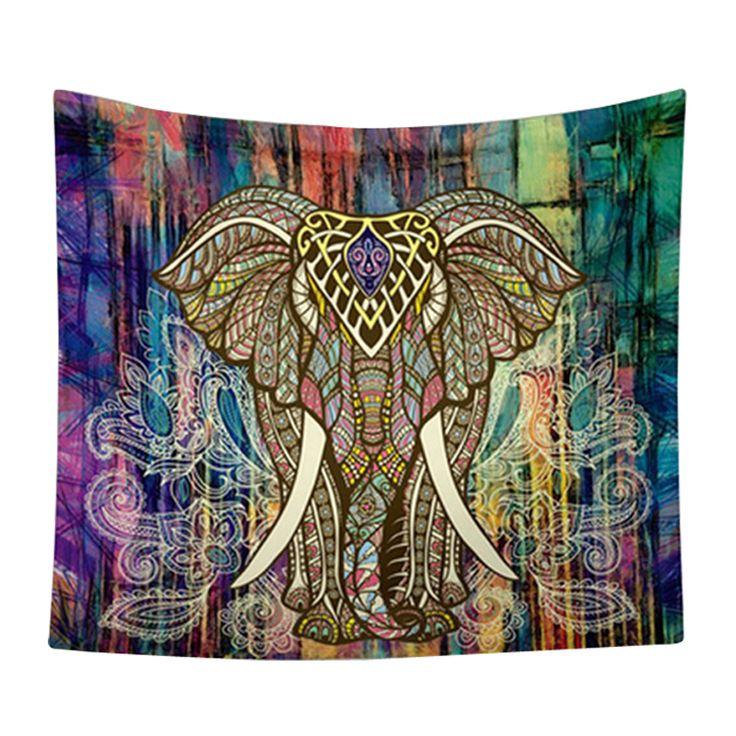 Elefante indio Mandala Tapiz Tapiz de Color Decorativo Impreso Boho Hippie de Alfombras de Pared Colgante de Pared