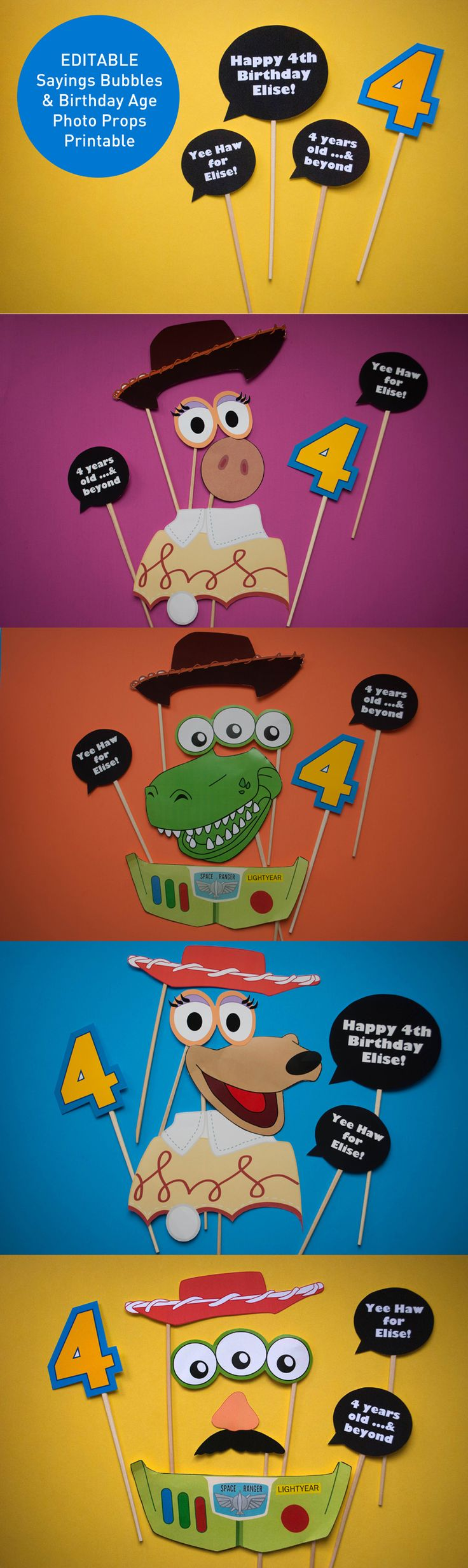 EDITABLE Sayings Bubbles and Birthday Ages for a Toy Story birthday party – just type into the printable PDF to personalize. Combine with free Toy Story props for a rootin' tootin' birthday party!