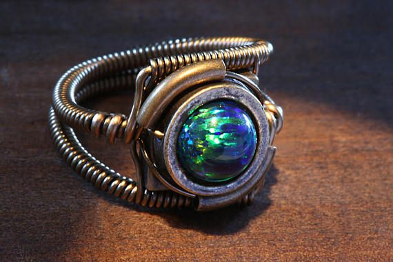 Steampunk Jewelry  Ring  Black LAB created OPAL