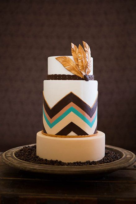 Boho Feather  Cake by Rebellyous Cake Co