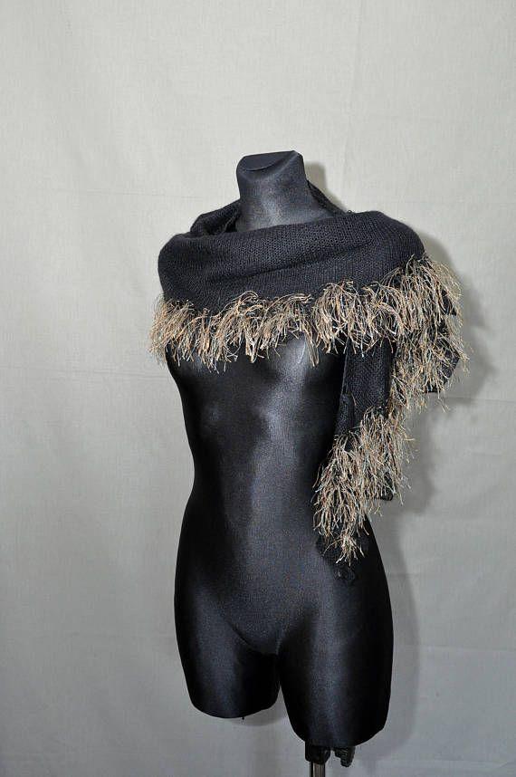 Black Hand Knitted Shawl with Tassels Boho Style Shawl 80s #BlackHandKnittedShawl #shawlwithTassels