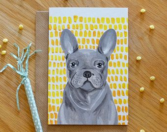Illustrated Frenchie - Grey and Yellow French Bulldog Card by Stephanie Cole Design © 2018