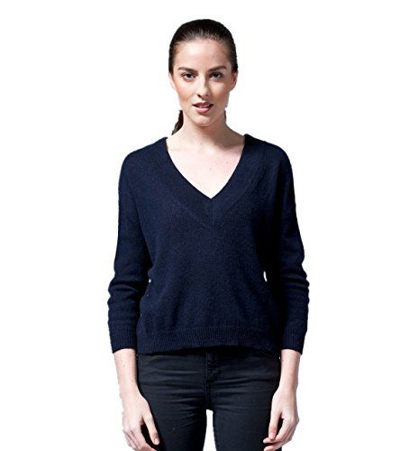 ARCH4 @100% 013 CASHMERE boxy body jumper with Deep V neck and cropped 3/4 sleeves (One size, Navy melange) LondonProm http://www.amazon.co.uk/dp/B00QR0R4CE/ref=cm_sw_r_pi_dp_-TJHub1RY28S5