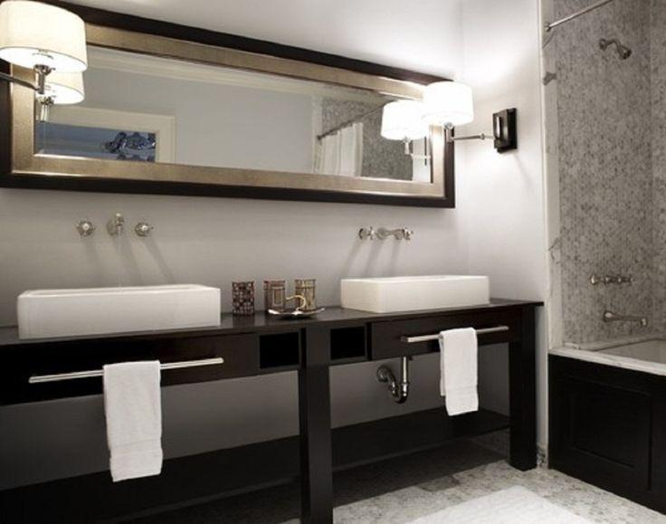 Photo Album Website Bathroom Bathroom Vanities Dark Brown Wooden Drawer Cabinets Mirror Wash Basin Creamic Sink Stainless Steel
