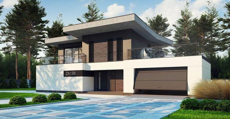Zx139 to nowoczesny, piętrowy projekt Z500 z płaskim dachem oraz dwustanowiskowym garażem. Elewację ozdabia biało-szary tynk z czarnymi wstawkami, zaś szklane balustrady krystalizują nieszablonowy styl budynku.