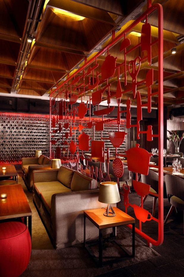 Restaurant design. cool red partition.  Think I was in this place in Vancouver, Canada???