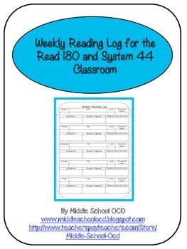 This Weekly Reading Log allows me to keep track of what books my Read 180 and…