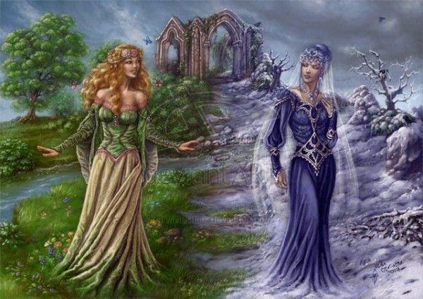С праздником нас 😘 И да сбудутся мечты 🌺  В горах, на скале, о беспутствах мечтая,   Сидела Измена худая и злая.   А рядом под вишней сидела Любовь,   Рассветное золото в косы вплетая.    С утра, собирая плоды и коренья,   Они отдыхали у горных озер.   И вечно вели нескончаемый спор --   С улыбкой одна, а другая с презреньем.    Одна говорила: - На свете нужны   Верность, порядочность и чистота.   Мы светлыми, добрыми быть должны:   В этом и - красота!  …
