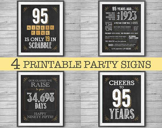 1923 95th Birthday Printable Party Signs