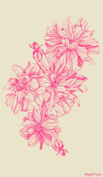 The artwork layout for our Dahlia Raspberry tea-towel... www.abigailryan.com    one of our faves! :))