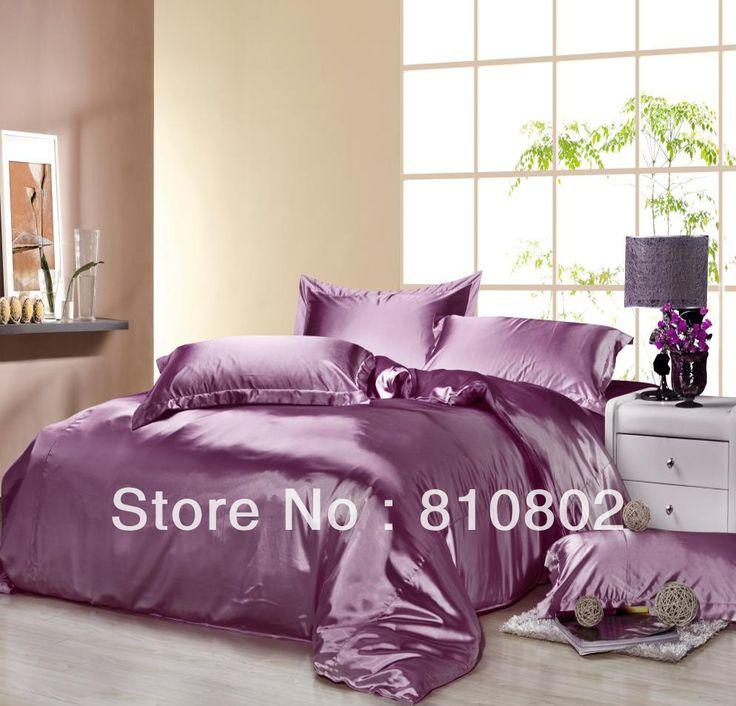 Высокое качество прохладное лето роскошный фиолетовый цвет подражали шелковое постельное белье набор, пододеяльник набор, bedline плоский лист, бесплатная доставка