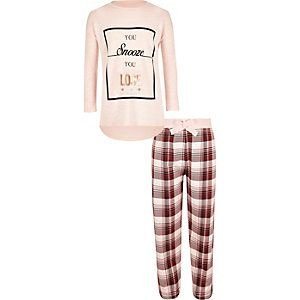 Girls pink slouch top and trousers set