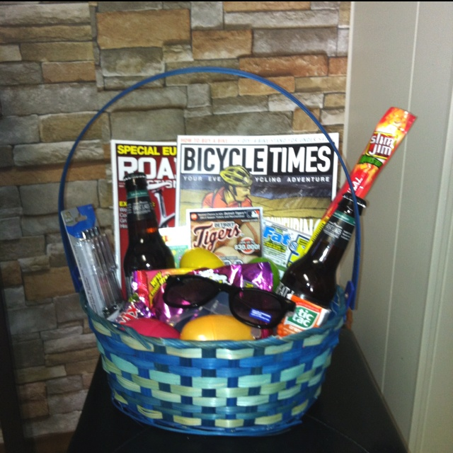 30 best seasonal easter images on pinterest easter bunnies and boyfriends easter basket full of a few favorites huge slim jim some pens for work foldable sunglasses some brewskis magazines of interest and of negle Gallery