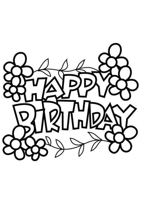 Carteles Y Tarjetas De Feliz Cumpleaños Para Colorear Jarros