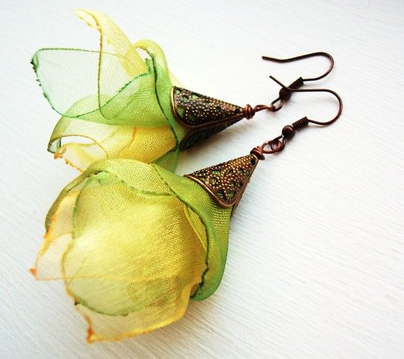 BACK!! - Lemon and lime organza earrings handmade Artisan jewelry petals feminine spring summer delightful delight trend fashion green fresh