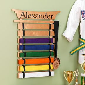 Personalized Karate Belt Display Rack - Martial Arts $45.95 > I think I could make this cheaper, yes?