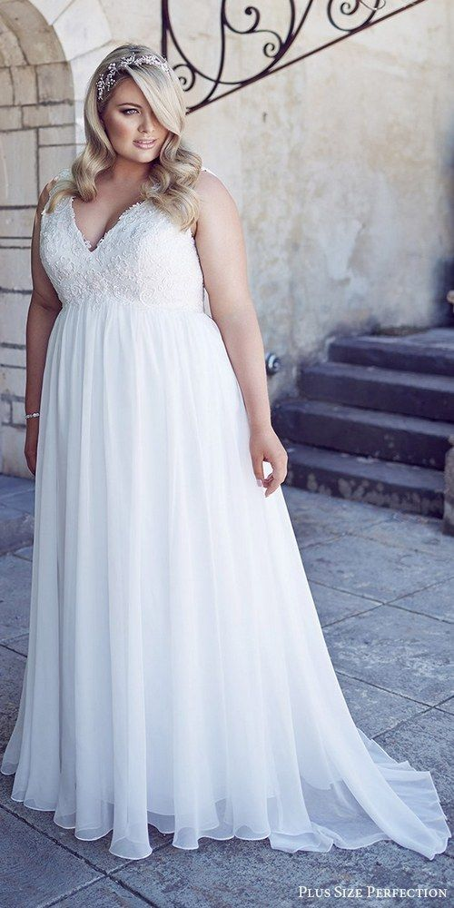 plus size perfection bridal 2016 sleeveles thick straps vneck empire waist lace bodice wedding dress / http://www.deerpearlflowers.com/plus-size-wedding-dresses/