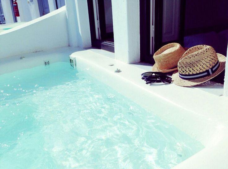 Pool inside the room in Santorini