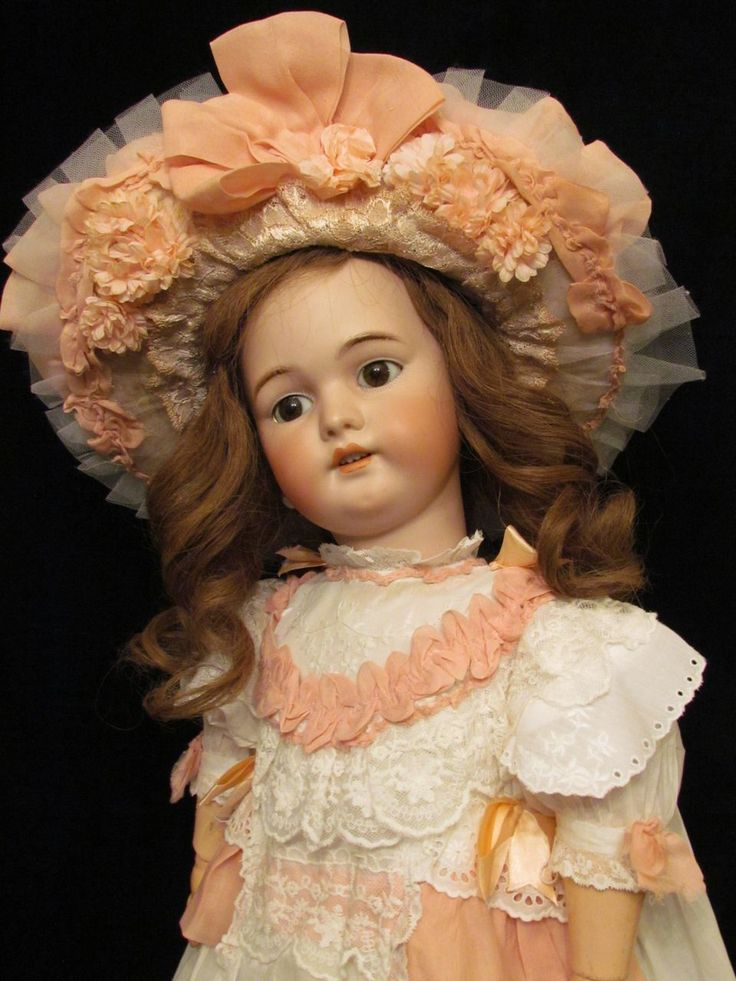 Dreaming Huge Antique German Doll by Simon Halbig porcelain factory.  The most desirable mold 1079!   Wonderful Dreamy Girl with deep mysterious brown