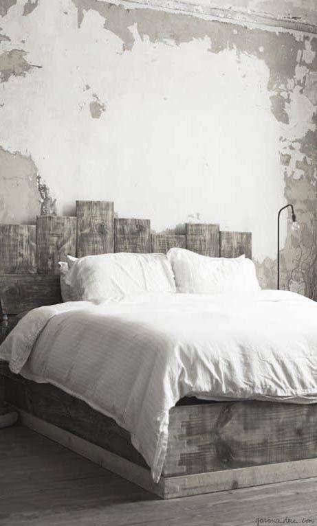 grey wood bed