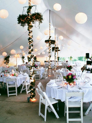 Transform venue's columns or tent poles from distraction to artful decor. Dont necessarily like the greenery, but I think lights and some pretty ribbon would do :)