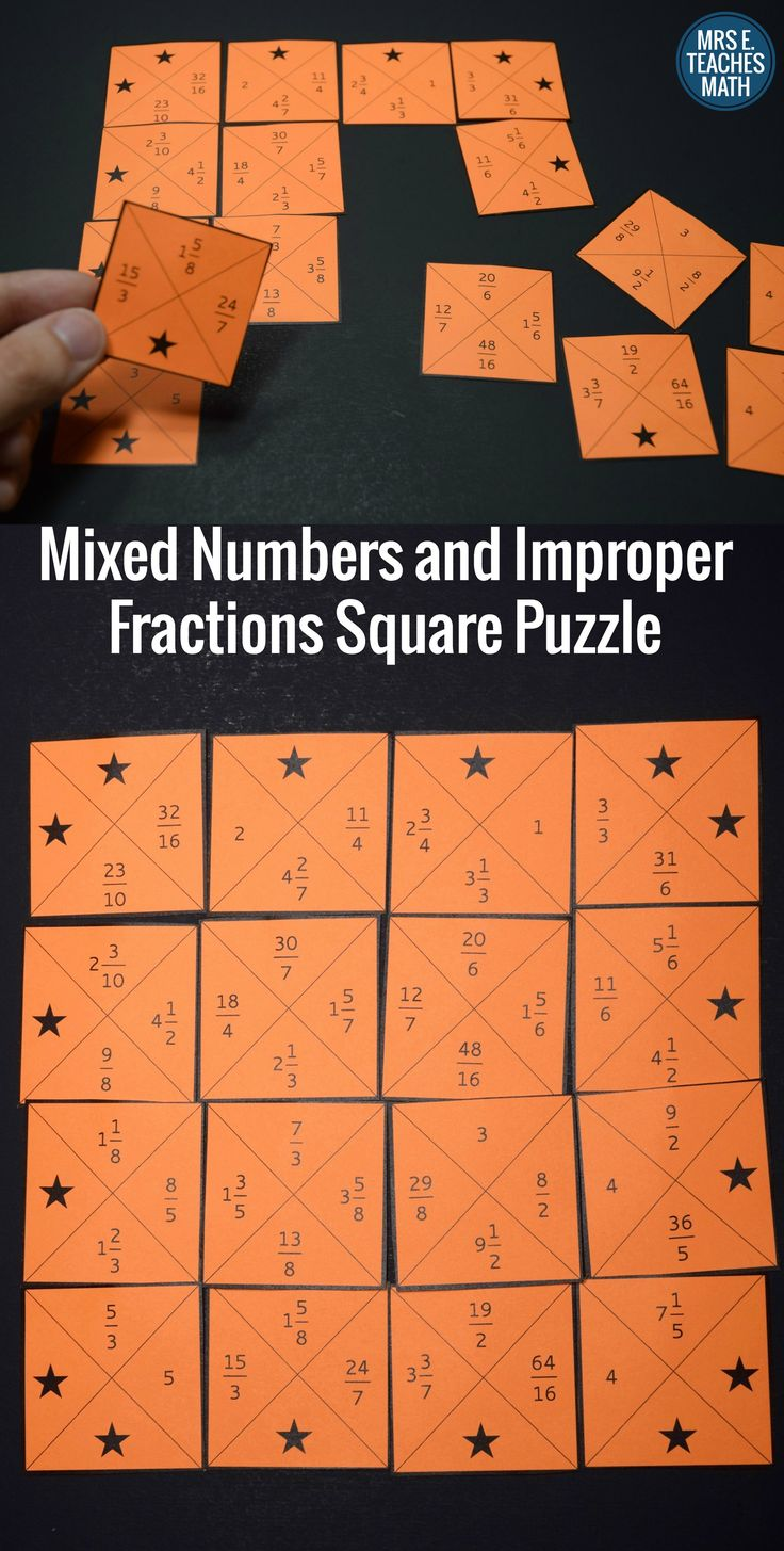 Mixed Numbers and Improper Fractions Square Puzzle