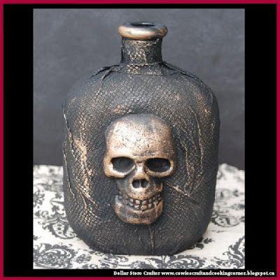 Dollar Store Crafter: Turn An Empty Liquor Bottle And A Styrofoam Skull ...