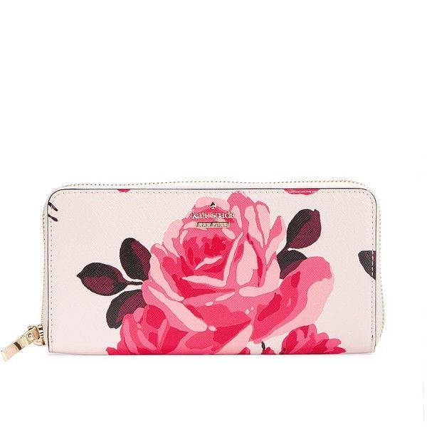 Kate Spade New York Cameron Street Roses Zip Around Wallet ($178) ❤ liked on Polyvore featuring bags, wallets, pink, flower print bag, kate spade bags, floral print wallet, floral wallets and kate spade wallet