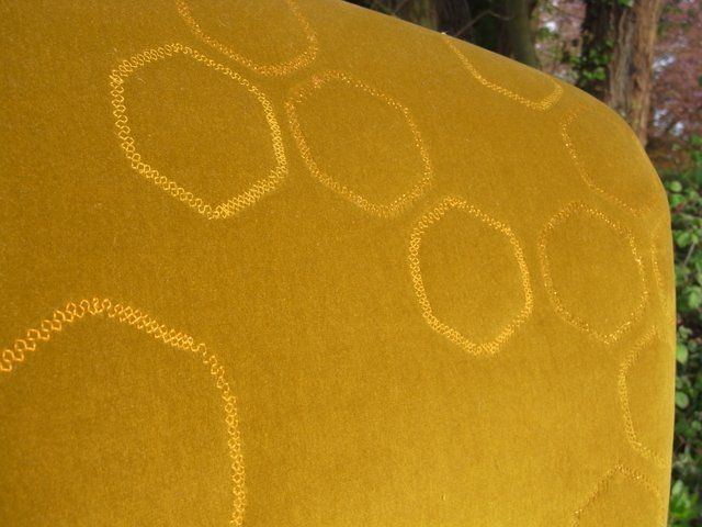 Metallic thread honeycomb quilting detail on the Beekeeper's chair by Boxinghare.