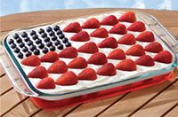This patriotically patterned strawberry-blueberry cheesecake is just the thing to bring to your next summer potluck..