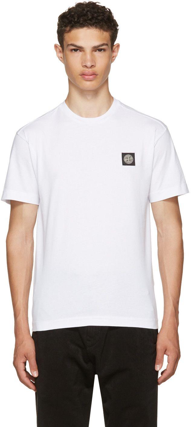 STONE ISLAND White Small Logo T-Shirt. #stoneisland #cloth #t-shirt
