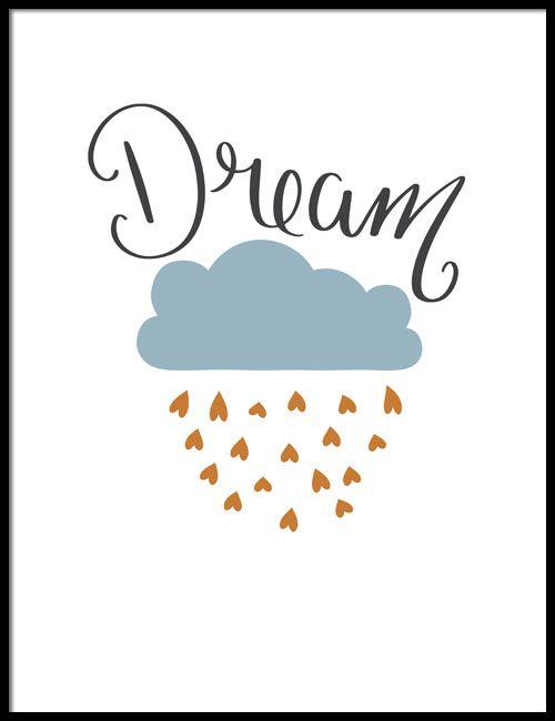 DREAM BARNPOSTER Stilren barntavla som passar bra in i ett sovrum. Härliga drömmar, under strössel av hjärtan. Typografisk tavla med grått moln. Hjärtan i nyans mot guld.