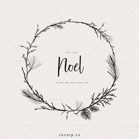 Holiday Wreath Clipart Christmas Laurel Wreath Png Pine Etsy Christmas Clipart Pine Cone Art Wreath Drawing