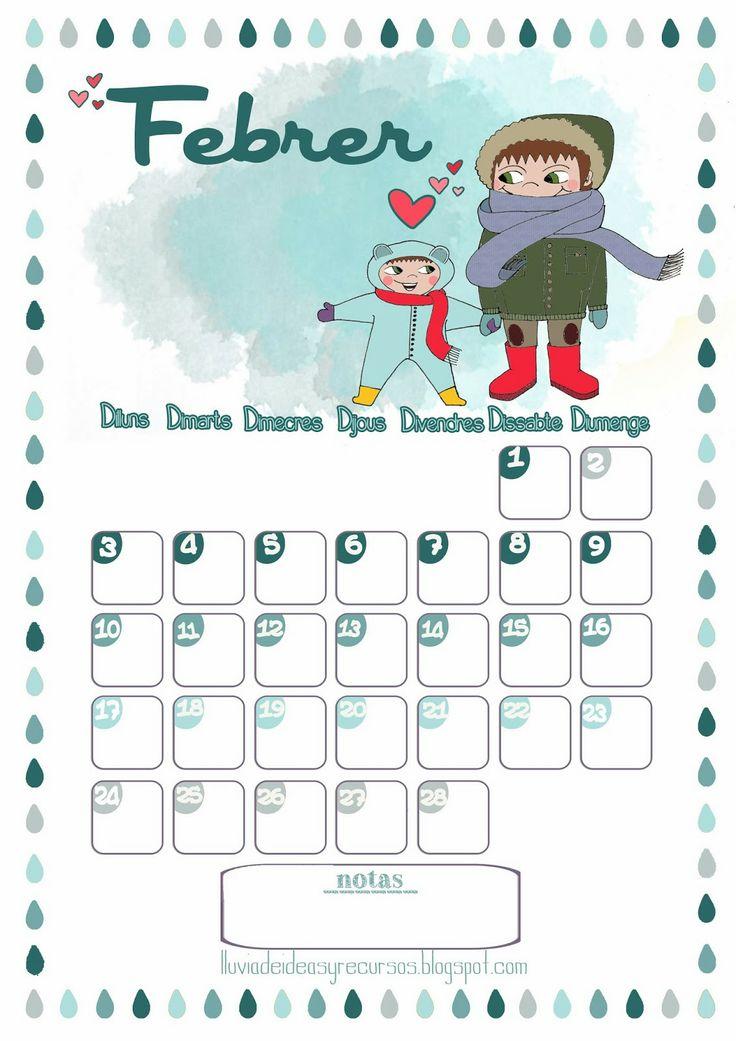 LLUVIA DE IDEAS: Descargables: Calendario de febrero