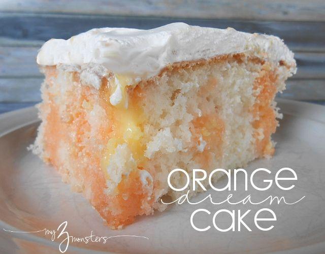 jello poke cake, orange and vanilla