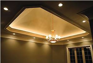 Recessed Lighting and tray ceiling with Light Rope Cove ...